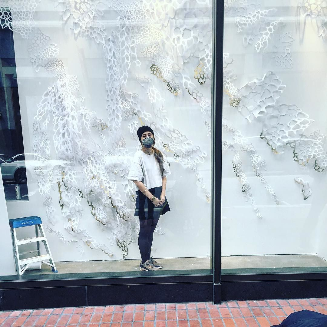 Done!  All handcut paper with an @xactobrand blade installed with @sfmoma in the Nordstrom Rack Windows by giannapapercutting