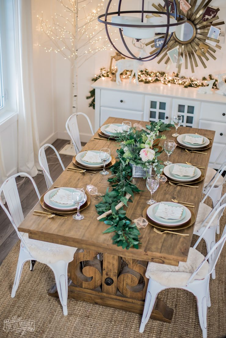 Two Neutral Rustic Glam Christmas Table Ideas Christmas Dining