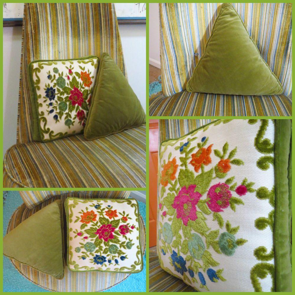 Vtg s mid century modern green velvet atomic flowers sofa throw
