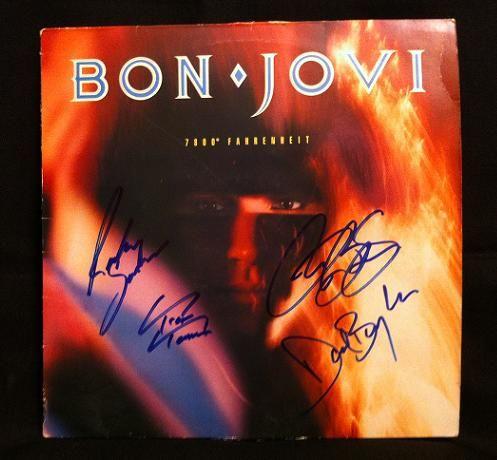 Bon Jovi Signed Album Autographed Bon Jovie 7800 Fahrenheit Album Cover Hand Signed By Jon Bon Jovi Richie Sambora David Bryan Bon Jovi Album Jon Bon Jovi