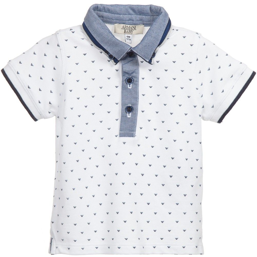 82f02b1bbd1 Baby boys white, short sleeved polo shirt by Armani Baby in a soft cotton  piqué