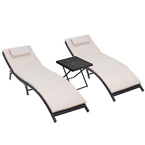 Peachy Homall 3 Pieces Outdoor Chaise Lounge Chair Patio Poolside Gmtry Best Dining Table And Chair Ideas Images Gmtryco