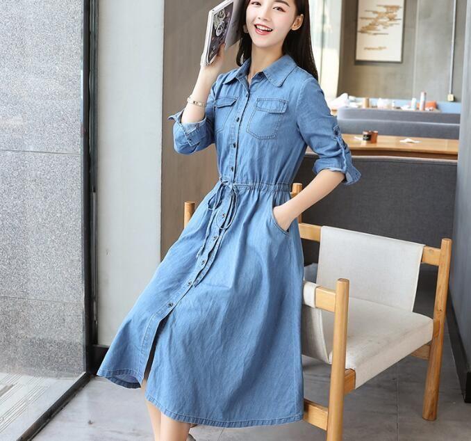 45b780abb2  DenimDress 2017 Summer New Denim Dress Women s Casual Long-sleeved Slim Shirt  Dress S. Visit. January 2019