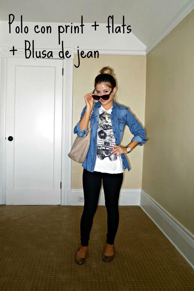Outfit con blusa de jean & pantalon o Mayas Negras