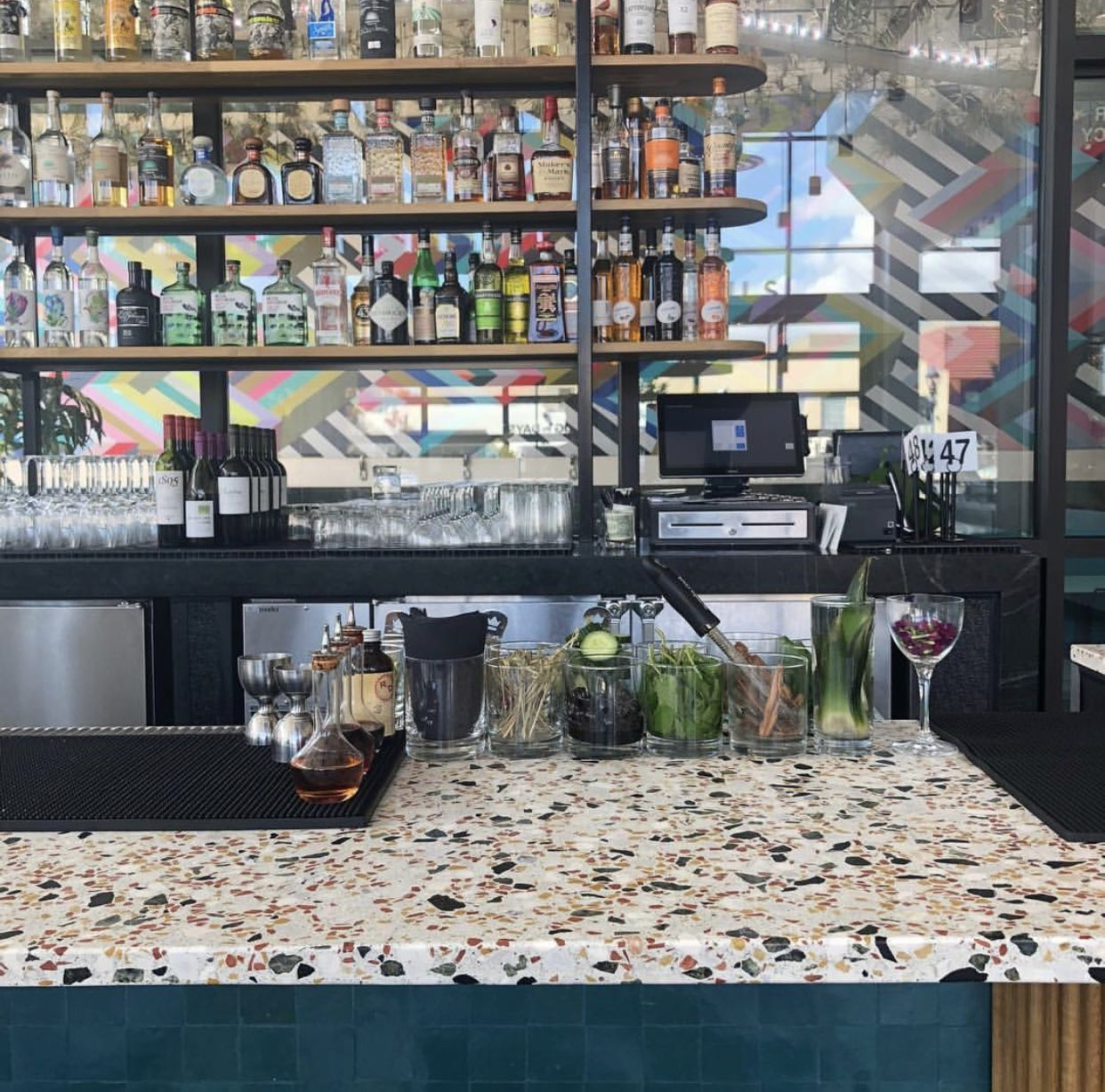This Terrazzo Bar Top Is We Worked With Our New Retro Mix And I M Loving The Pops Of Rust Green And Mustard Coming Terrazzo Architecture Countertop Slabs