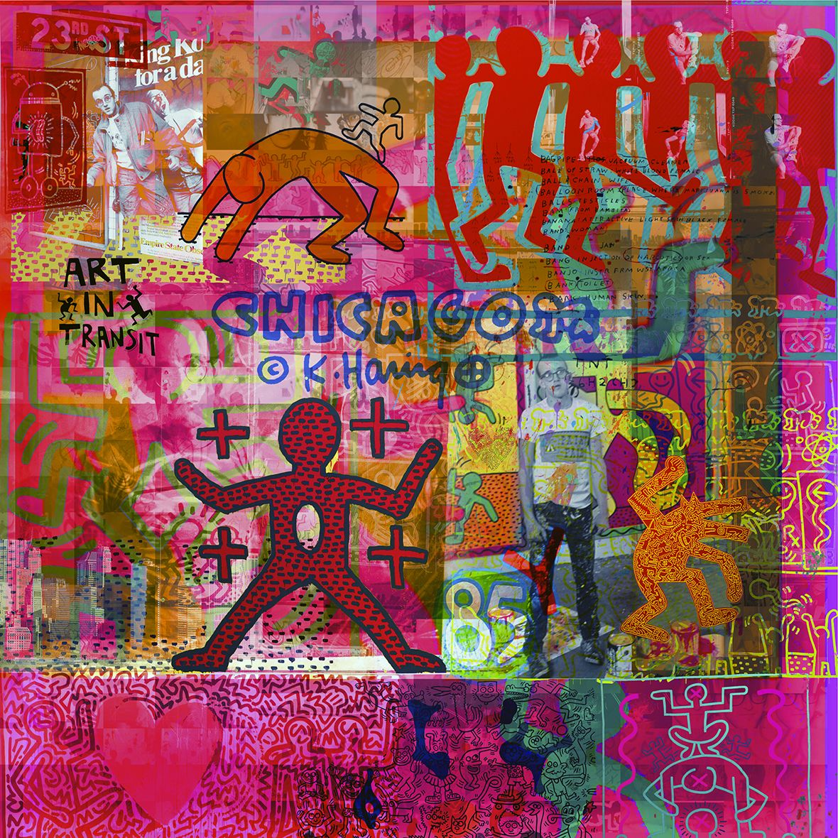 Art in transit - 95 x 95 cm - Digigraphie originale sur toile