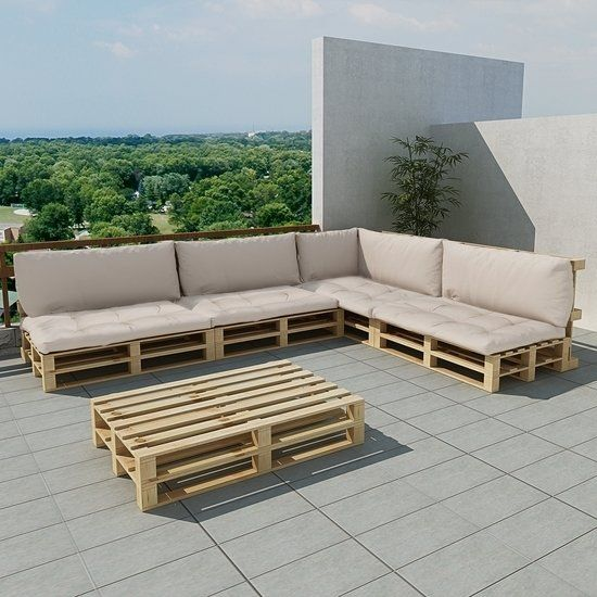 Houten pallet lounge set voor buiten met 15 delen 9 kussens zand wit palleten lounges en - Foto houten pallet ...
