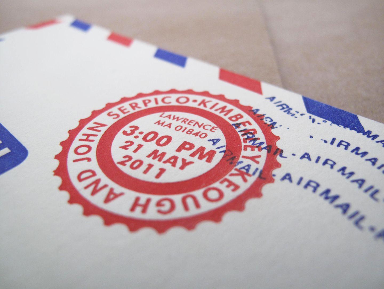 Kim + John\'s Letterpress Airmail Wedding Invitations | Airmail ...