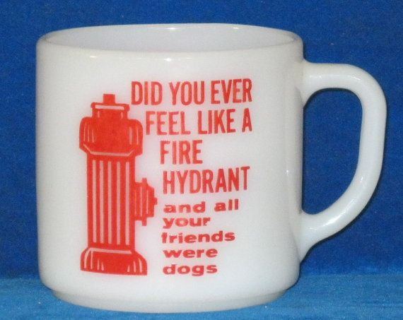 Red and white Federal Glass milk glass cup with by frogpondschool, $10.00
