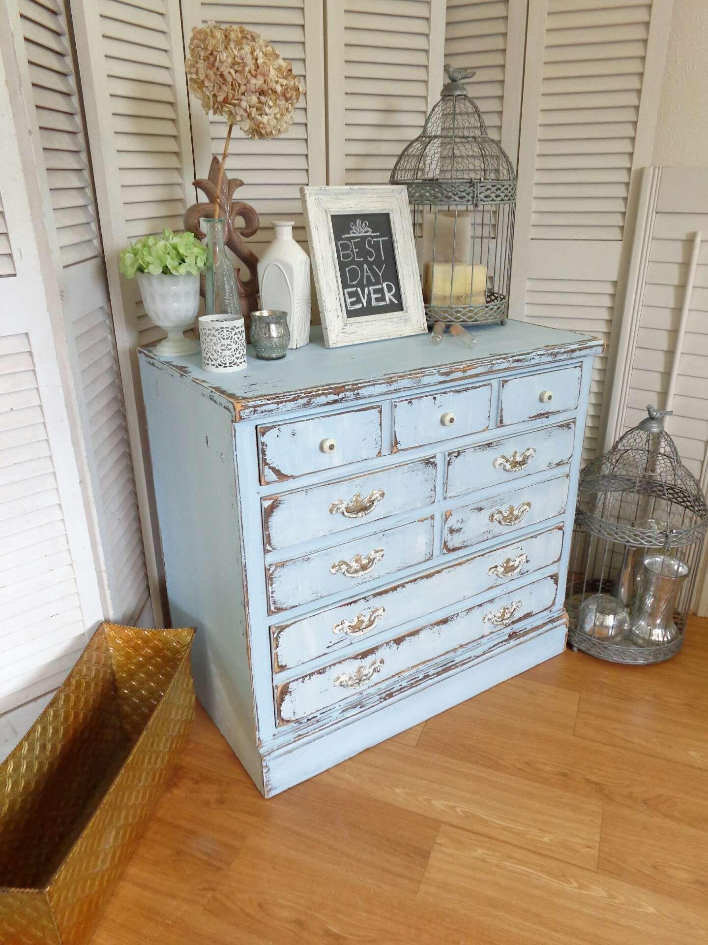 Ethan Allen Dresser Solid Wood Distressed Sky Blue Shabby Farmhouse Chic Vintage 3 Drawer Chest By Christine Brandon Shabbychichomesboho