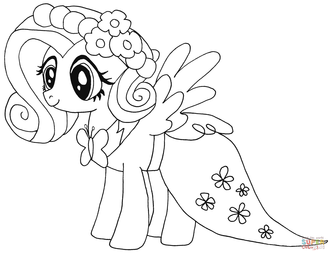 Ausmalbilder My Little Pony Equestria Girl : My Little Pony Fluttershy Coloring Page Free Printable
