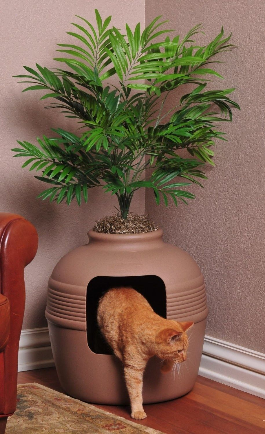 A Kitty Litter Box That Is Disguised As A Pretty Potted Plant Cat Litter Box Furniture Plant Litter Box Litter Box Enclosure