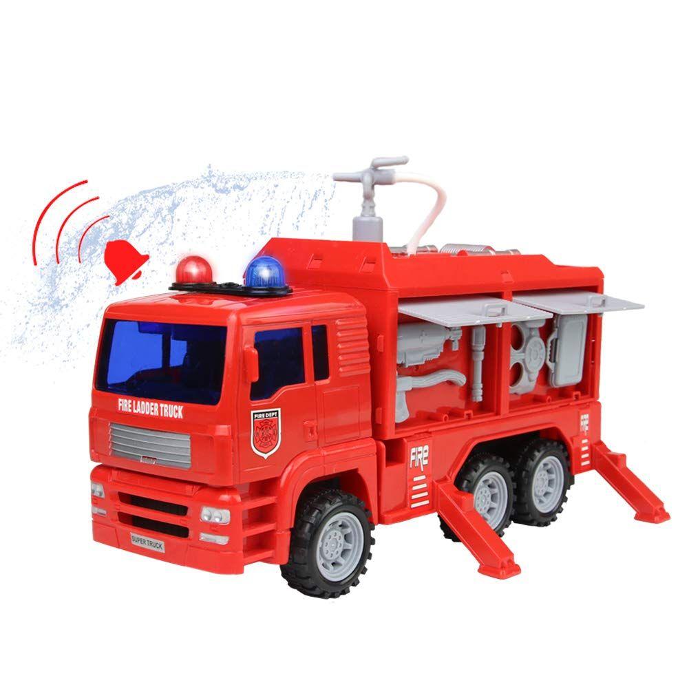 Nuheby Camion Pompier Vehicule Miniature Pulvérisateur D Eau Camion Enfant Pompier Enfant Avec Lumières Sons Et Fonction Miniature Pompier Jeu Carros Gasolina