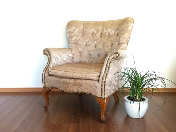 vintage curved wingback chair in gold brocade upholstery  classic furniture   retro home decor. vintage curved wingback chair in gold brocade upholstery  classic