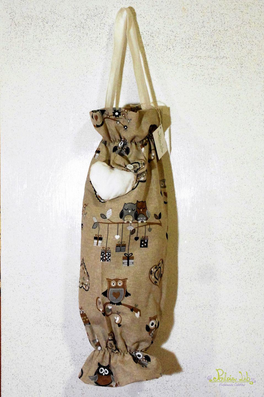 Sacchetto porta buste in tessuto fantasia gufetti decorato con ...