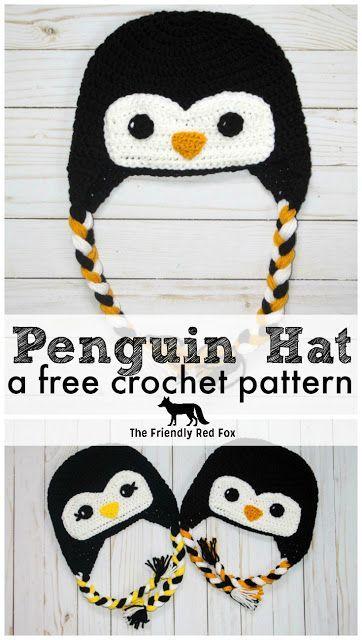 Free Crochet Hat Friendly Penguin #crochethats