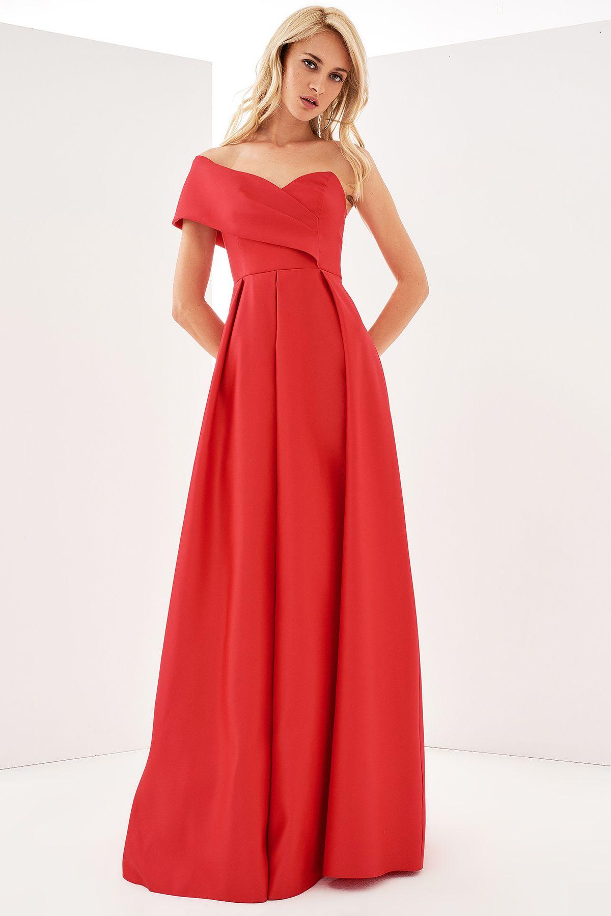 Trendyolmilla Kirmizi Tek Omuz Elbise Elbiseler Elbise Elbise Modelleri