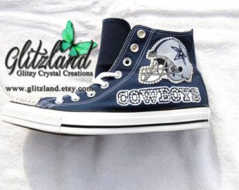 Swarovski Navy Converse All Star High Tops w/ Dallas Cowboys Blinged with  SWAROVSKI® Crystals