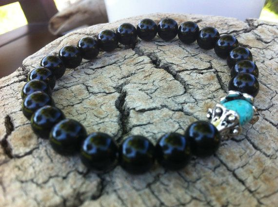 Black Czech beads and Turquoise Gemstone Stretch by MiaCocoDesigns, $13.00