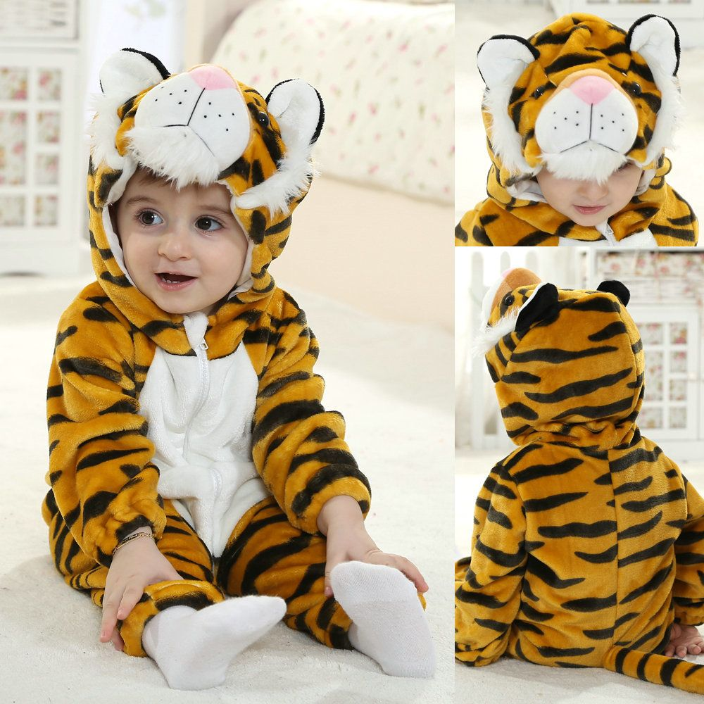 61ded542a Yellow Tiger Cute Toddler Onesie Flannel Spring Baby Kigurumi Pajama ...