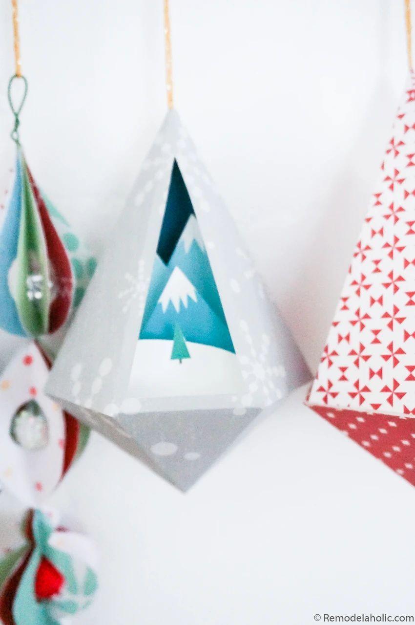 3d Paper Ornament Templates Printable Christmas Decorations Paper Ornaments Diy Ornament Template Printable Christmas Decorations