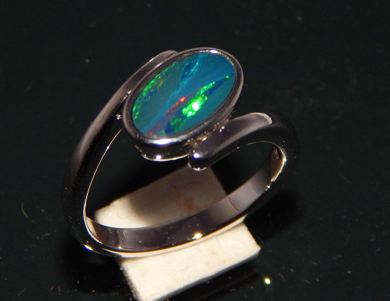 Sale Sterling Silver Rings With Australian Opal Doublets Opal Ring Boulder Opal Ring Beautifull Opal R Boulder Opal Ring Silver Rings Sterling Silver Rings