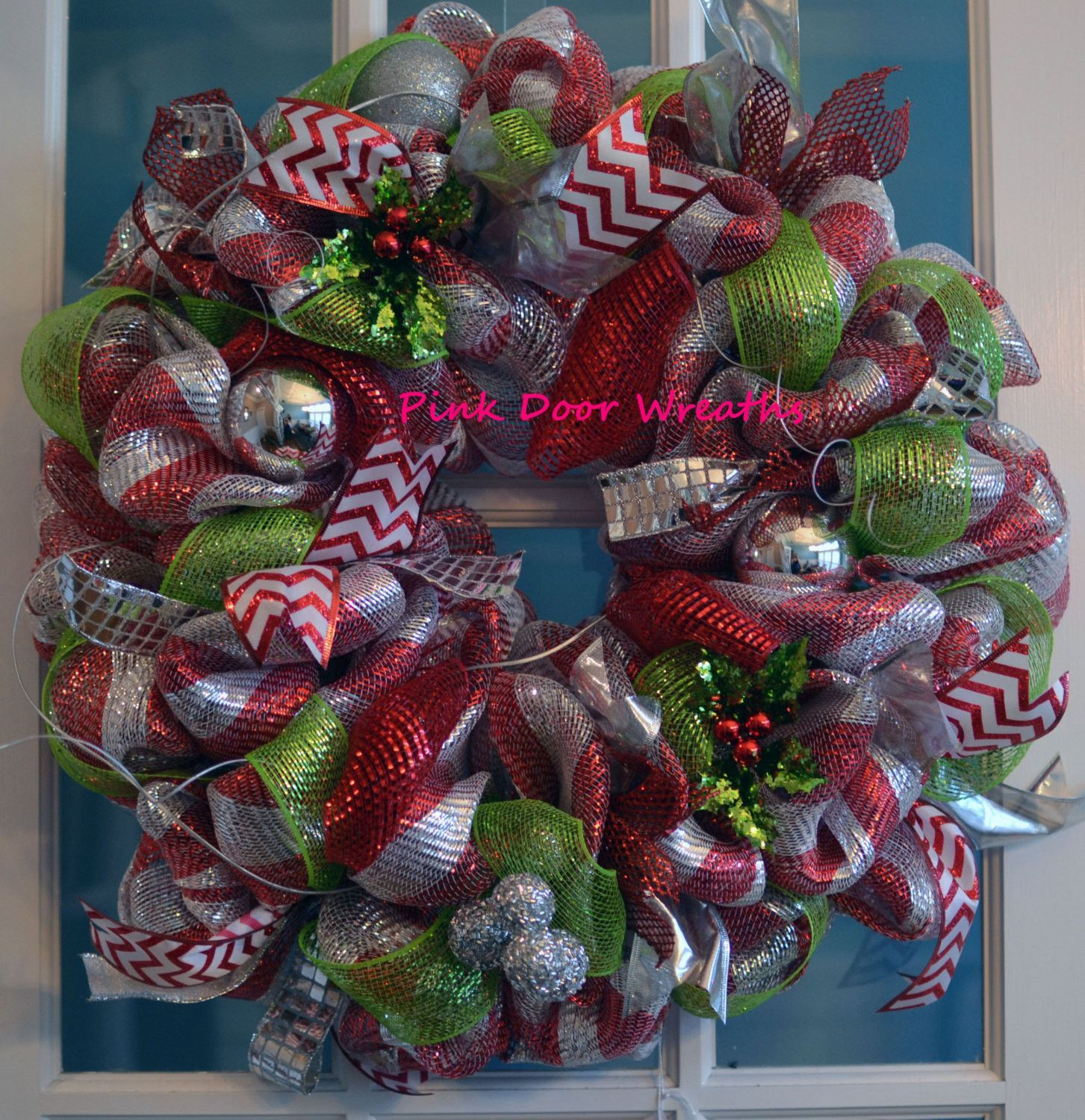 christmas decorations with mesh ribbon