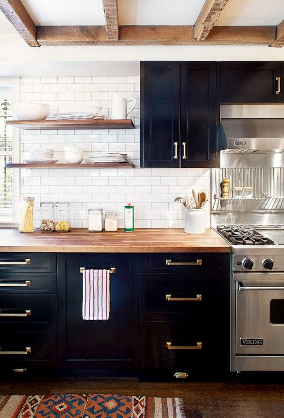 Exceptionnel Dark Kitchen Cabinets With Open Shelves And Brass Hardware. (Black Cabinets  And Butcher Block Counter Tops.