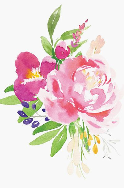 Watercolor Flowers Printable Art Floral Watercolor Flower Art