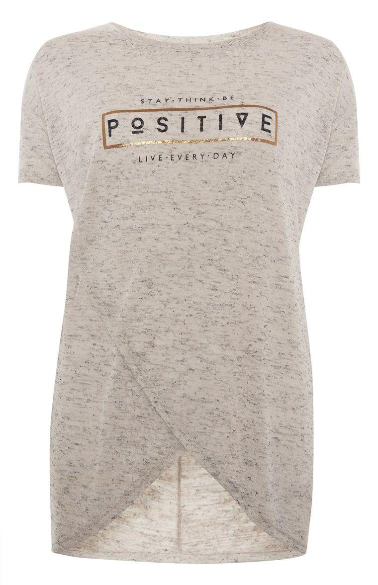 Primark Grijs T Shirt Extra Lang Met Tekst T Shirts Grijs Teksten