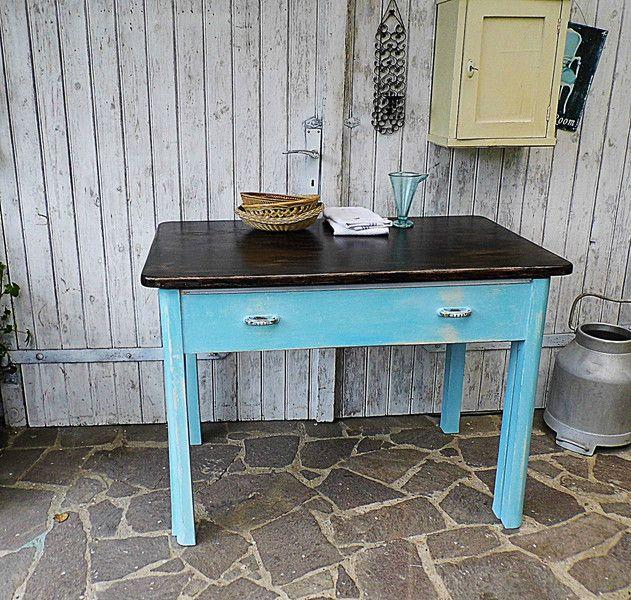 vintage tische - alter küchentisch waschtisch tisch mit