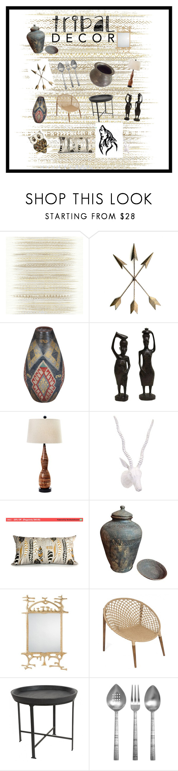 """Tribal decor"" by dogs109 ❤ liked on Polyvore featuring interior, interiors, interior design, home, home decor, interior decorating, Élitis, Universal Lighting and Decor, Arteriors and Lisa Jenks"