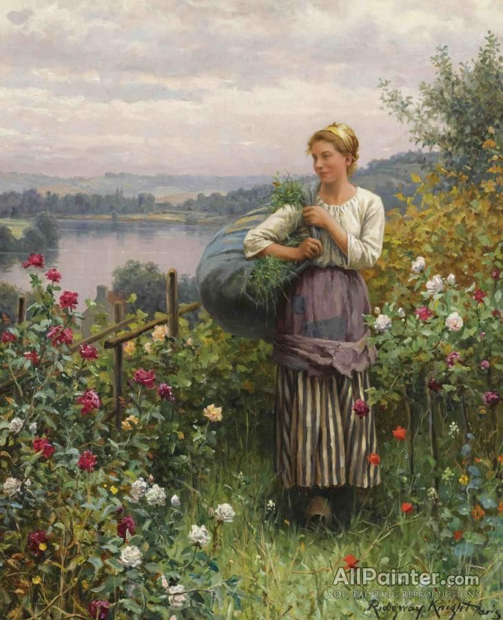 Daniel Ridgway Knight,The Rose Garden oil painting reproductions for sale