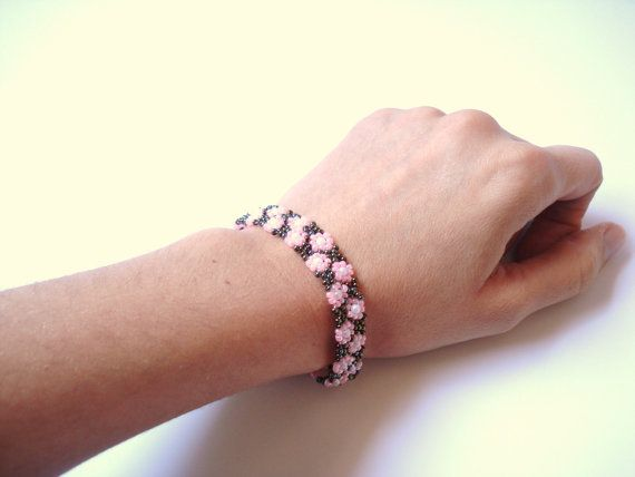 Beadwork Bracelet Gifts for her Pink and Brown by bypasha on Etsy, $10.00
