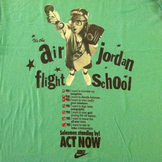 5c26a2fb8fd57f Vintage NIKE Spike Lee Michael Jordan flight school t-shirt ...