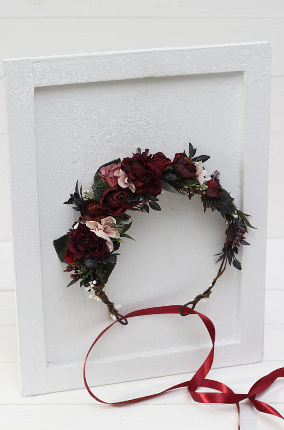 Deep red blush pink flower crown Burgundy floral headpiece