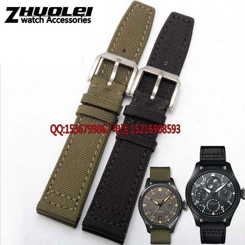 Nylon Durable +genuine leather bottom Men Watchbands,20mm 21mm 22mm,Black&Green&Khaki,Watch Band Strap Belt,Steel Silver Clasp