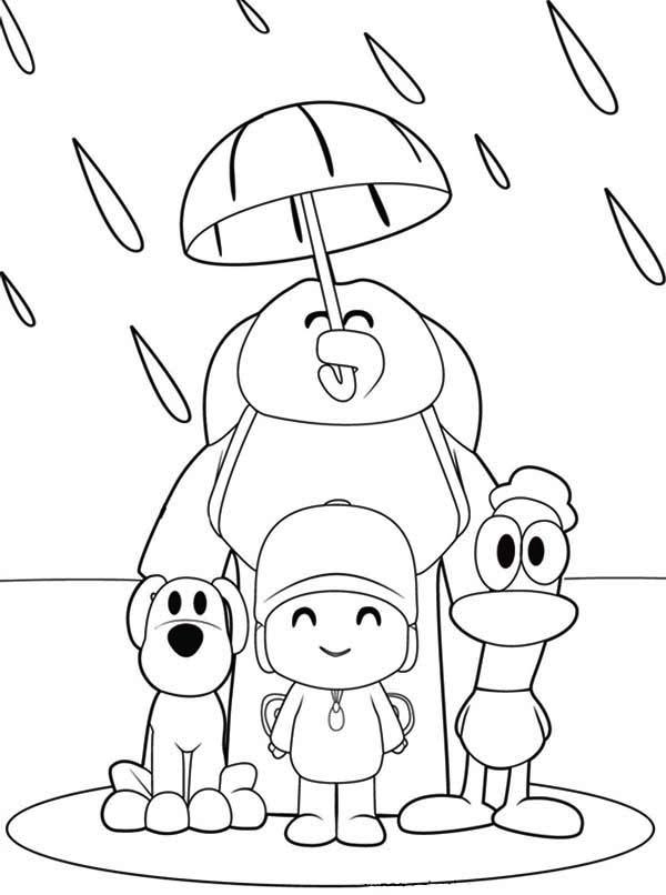 Pocoyo And Friends Under One Umbrella Coloring Page Color Luna Cartoon Coloring Pages Umbrella Coloring Page Barbie Coloring Pages