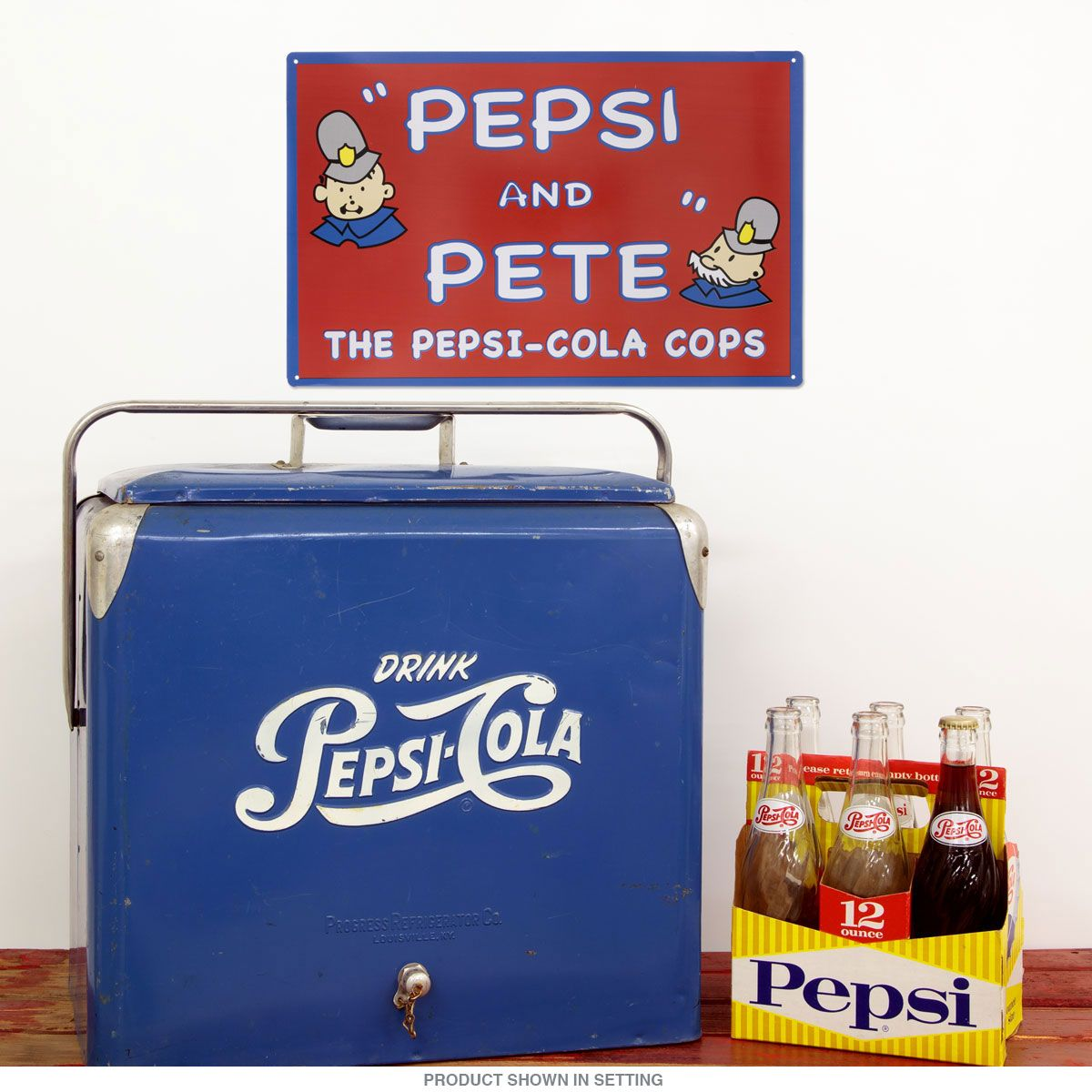 Old Pepsi and Pete Cops Metal Sign adds unique decor to your home or business. Every Pepsi Soda Ad collector would love this unusual gift. All Pepsi and Pete Cops Tin Signs are pre-drilled and ready to hang.