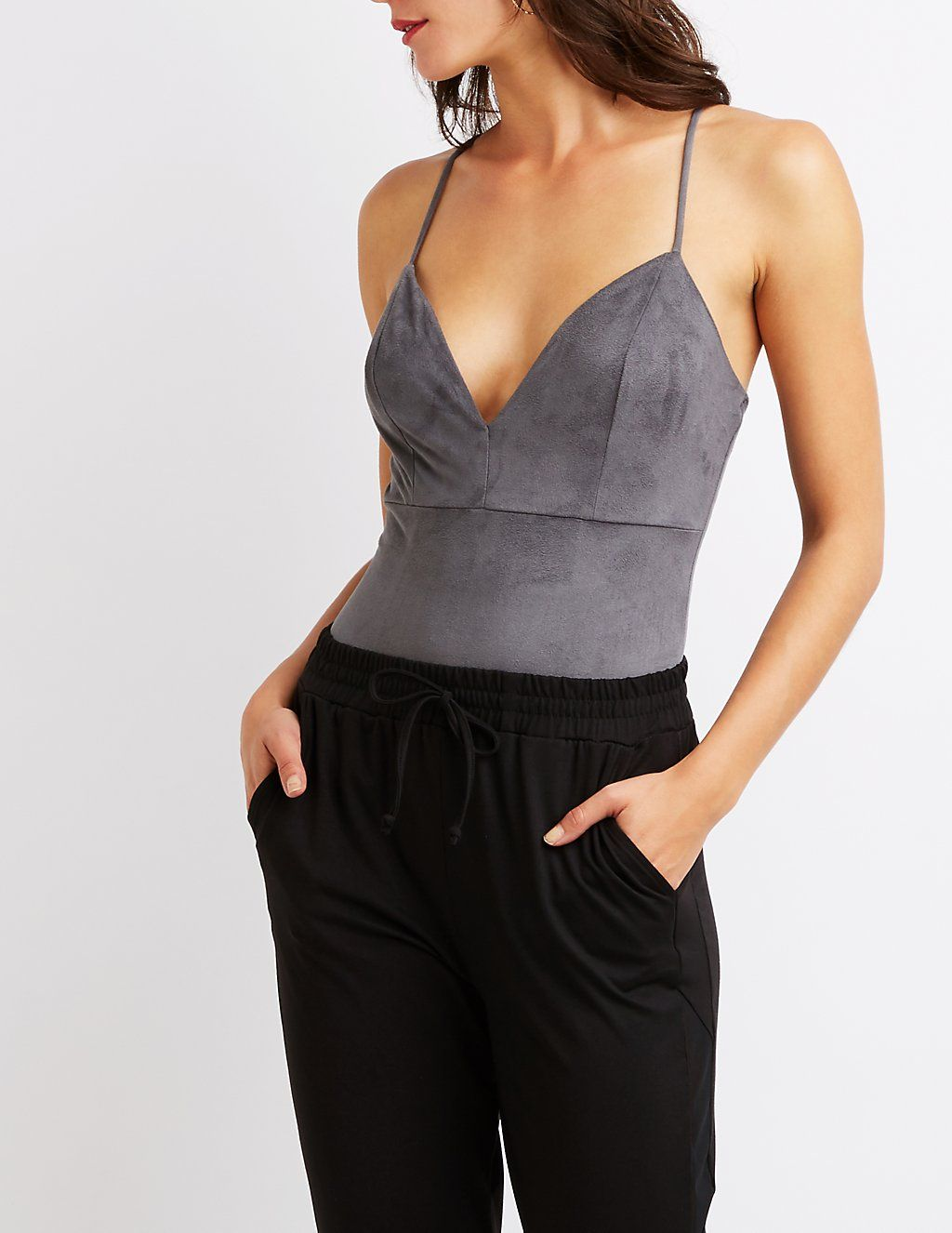 Faux Suede V-Neck Bodysuit | Charlotte Russe | Clothes | Pinterest