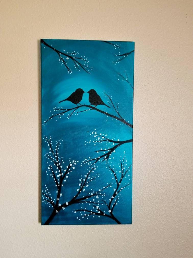 Valentine Love birds in moonlight acrylic painting canvas art lighted tree white flower blossoms moonlit night scene wall art