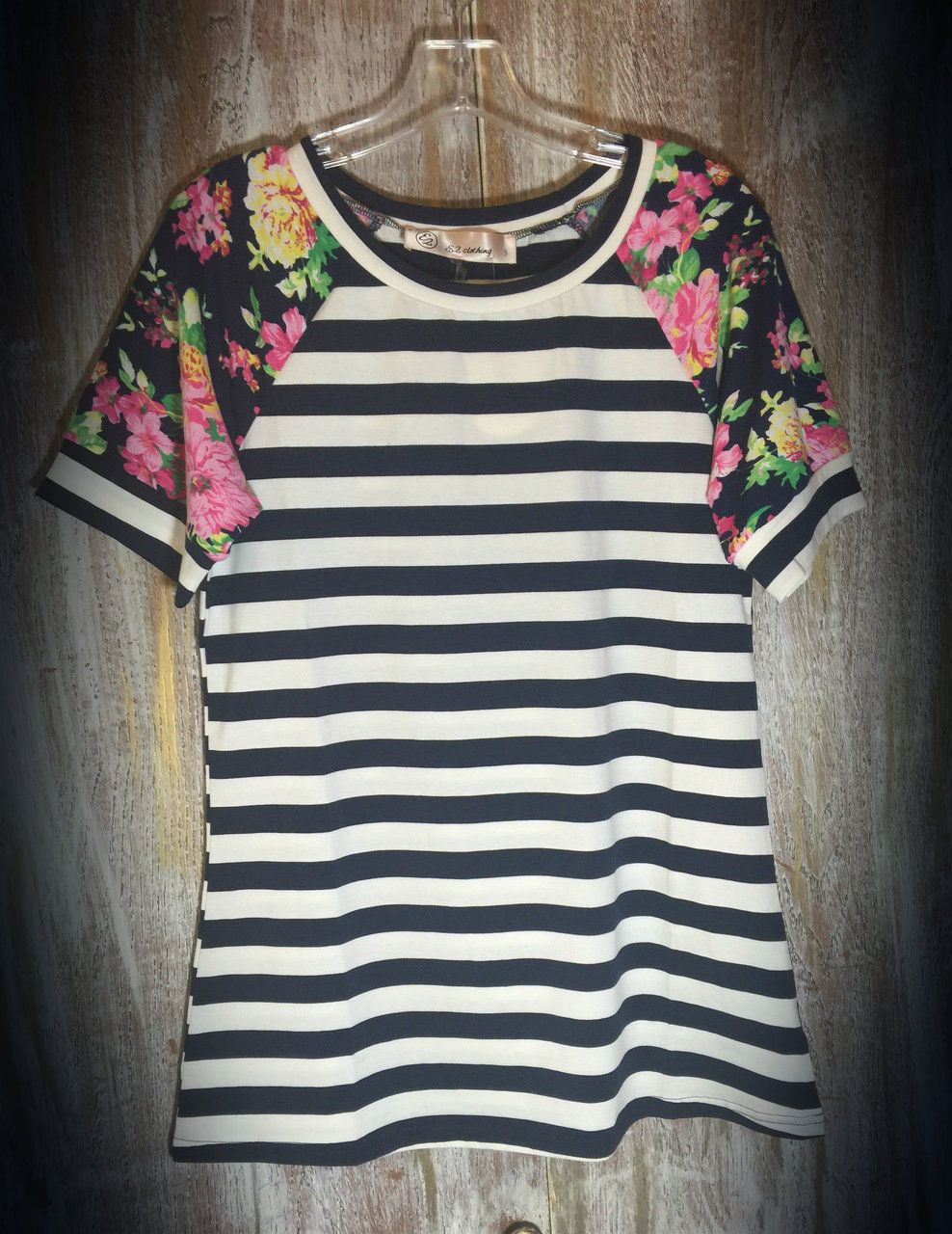 The Bling Box - Striped Navy Floral Sleeve Top, $28.99 (http://www.theblingboxonline.com/striped-navy-floral-sleeve-top/)