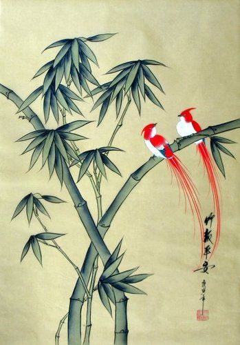 Chinese Silk Painting Birds Flowers Bamboo 24x16 Brush Ink Gongbi