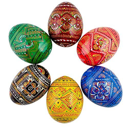 BestPysanky Set of 6 Ukrainian Geometric Wooden Pysanky Easter Eggs