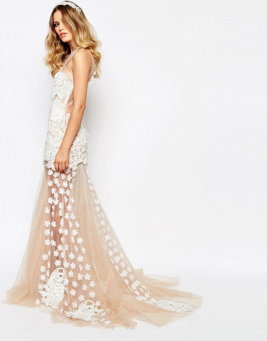 Image of a star is born bridal luxe floral applique maxi dress
