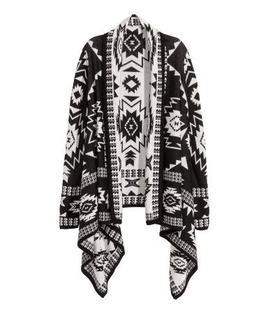 This bold black and white print open cardigan is a must-have this Fall. | Warm in H&M