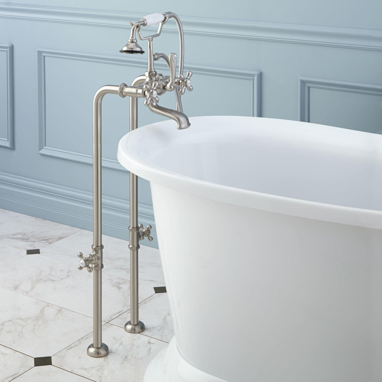 Freestanding Telephone Tub Faucet, Supplies & Valves - Cross Handles ...