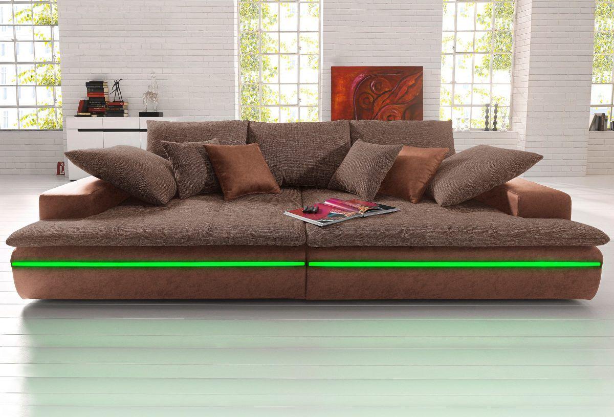 Big-Sofa braun, 260cm Breite, mit Beleuchtung ...