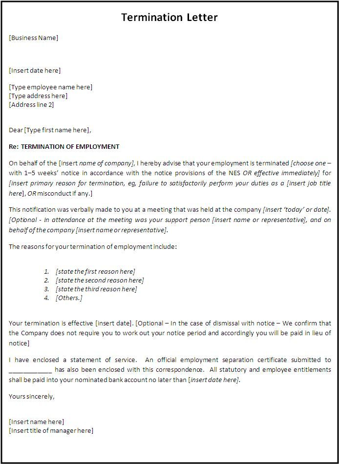 Termination Letter Format | Free Word Templates - Employment