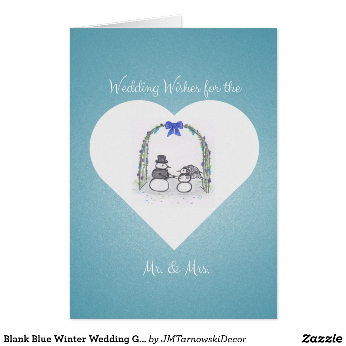 Blank Blue Winter Wedding Greeting Card Greeting Cards Pinterest